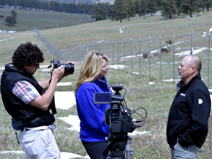 DMP superintendent Dick Gannon interviewed by Wendy Brockman of Connected Colorado. SLW photo, 5/16/2014.